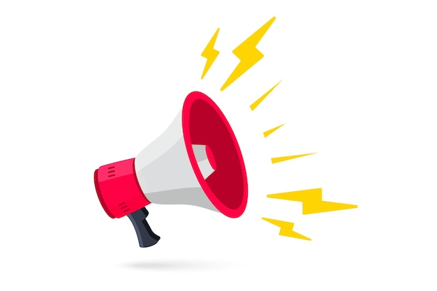 Megaphon lautsprecher lautsprecher megaphon alarm vector illustration im flachen stil