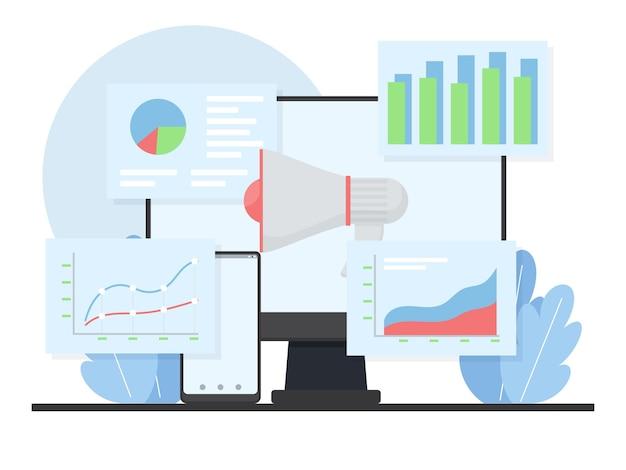 Megaphon mit diagramm und infografik vor dem bildschirm.