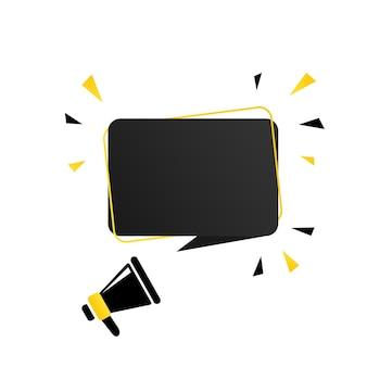 Megaphon mit leerer sprechblasenfahne. lautsprecher. kann für geschäft, marketing und werbung verwendet werden. vektor-eps 10. getrennt auf weißem hintergrund.