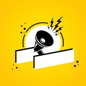Megaphon mit leerer sprechblasenfahne. lautsprecher. label für business, marketing und werbung. vektor auf isoliertem hintergrund. eps 10.