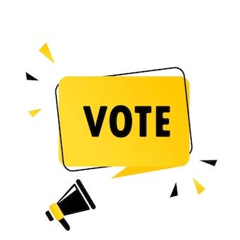 Megaphon mit vote-sprechblase-banner