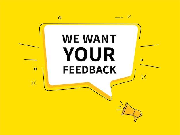 Megaphon mit wir möchten ihr feedback in der sprechblase.