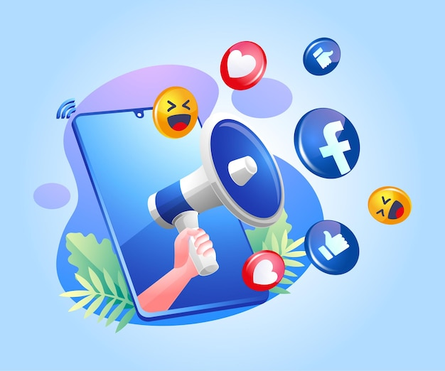 Megaphon- und facebook-social-media-symbole