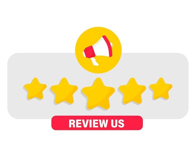 Megaphon und sprechblase mit fünf goldenen sternen kundenrezension feedback-konzept