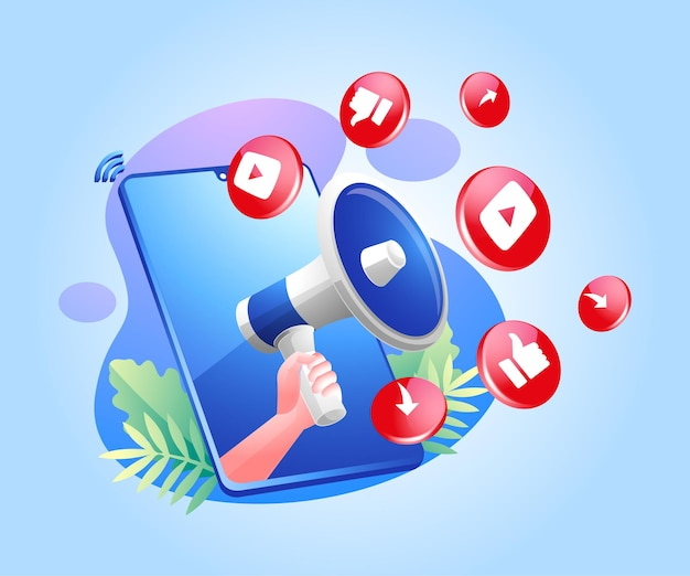 Megaphon- und youtube-social-media-symbole