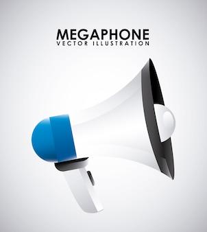 Megaphondesign über grauer hintergrundvektorillustration