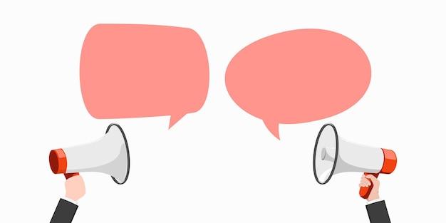 Megaphone oder lautsprecher mit sprechblase.