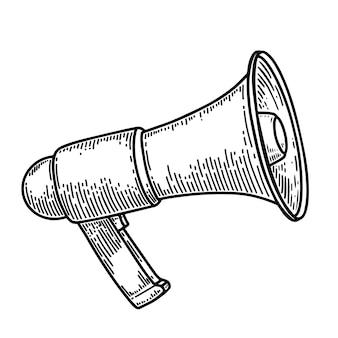 Megaphonillustration in der stichart lokalisiert auf weißem hintergrund. gestaltungselement für poster, karten, banner, flyer. vektor-illustration