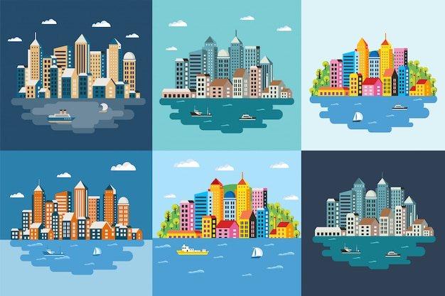 Megapolis-landschaft der großstadt