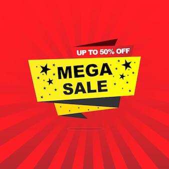 Megaverkauf auf gelbem banner und bis zu 50% auf rotem banner für verkaufsförderungsereignis mit schwarzem stern