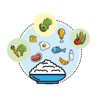 Mehl mit gemüse und früchten mit proteinen