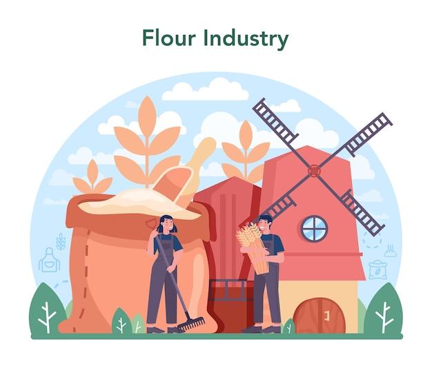 Mehl schmelzende industrie. moderne getreideernteverarbeitungsfabrik