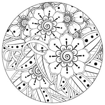 Mehndi blume dekorative ornament im ethnischen orientalischen stil doodle ornament umriss hand zeichnen hand