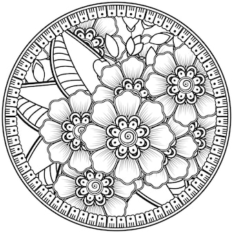 Mehndi blume dekorative ornament im ethnischen orientalischen stil doodle ornament umriss hand zeichnen