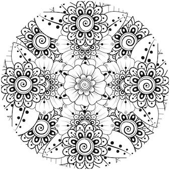 Mehndi blume für henna mehndi tattoo dekoration malbuchseite