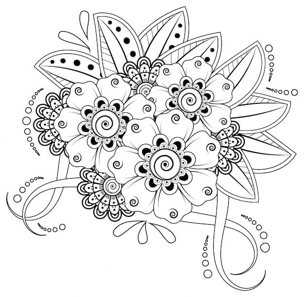 Mehndi-blume für henna-zeichnung und tätowierung. dekoration im ethnisch orientalischen, indischen stil.