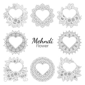 Mehndi-blume im gekritzel-ornament-umriss der hand im ethnischen orientalischen stil zeichnen malbuchseite