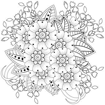 Mehndi blumenarrangement. dekorative verzierung. umriss hand zeichnen malbuch seite.