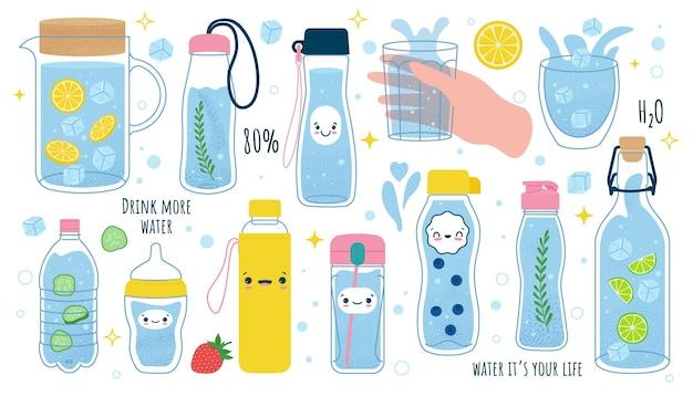 Mehr wasser trinken set aus glas plastikbecher glasflasche thermoskanne glasspender mit wasser