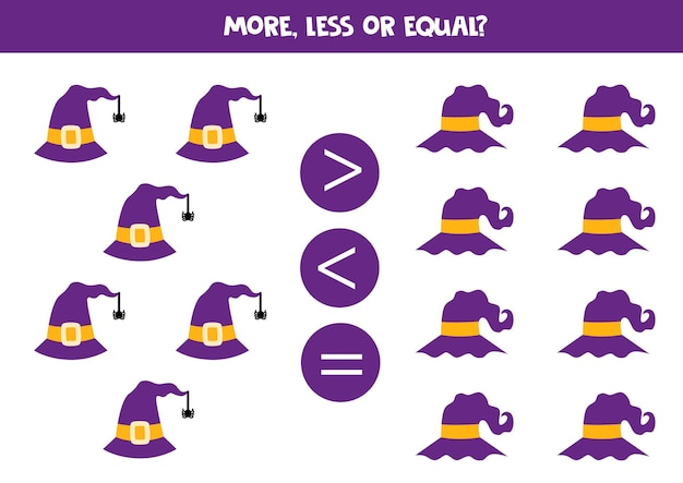 Mehr, weniger, gleich mit halloween-hüten. mathe vergleich.