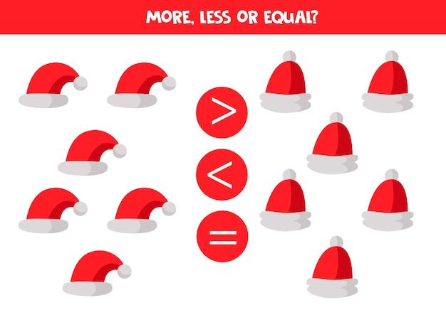 Mehr, weniger oder gleich mit comic-weihnachtsmannmützen. pädagogisches mathe-spiel für kinder.
