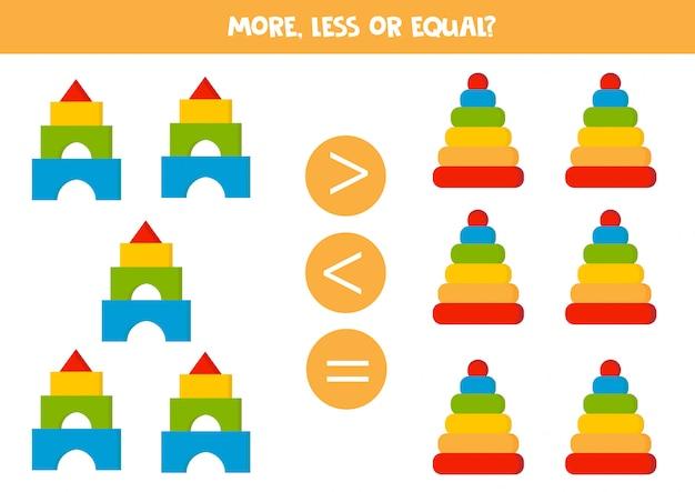 Mehr, weniger oder gleich, vergleiche die anzahl der spielzeugpyramiden.