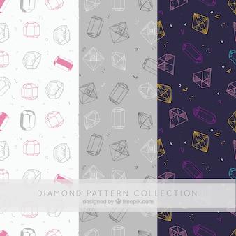 Mehrere dekorative muster mit handgezeichneten diamanten