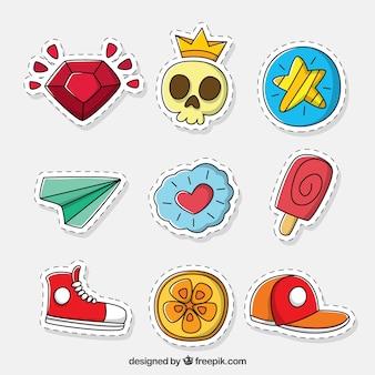 Mehrere der modernen handgezeichneten patches