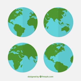 Mehrere erde globen in flachem design