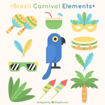 Mehrere flache gegenstände für brasilianische karneval