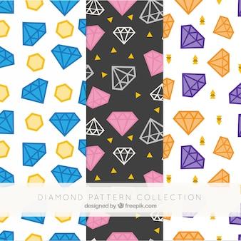 Mehrere flache muster mit farbigen diamanten
