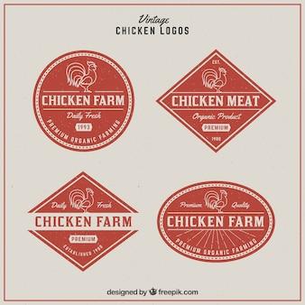 Mehrere hühnerlogos im retro-stil