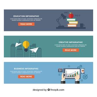 Mehrere infografische banner mit dekorativen elementen