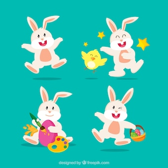 Mehrere lustige kaninchen für ostern tag
