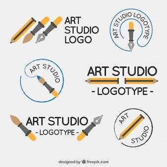 Mehrere nette logos der kunststudio