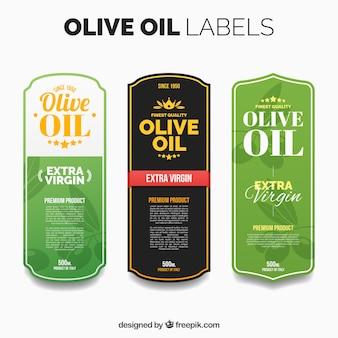 Mehrere olivenöl-etiketten mit farbdetails