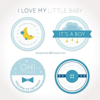 Mehrere runde abzeichen für baby-dusche