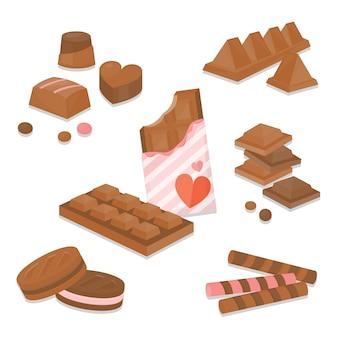 Mehrere süße schokolade. süß und dessert in schokoladengeschmack.