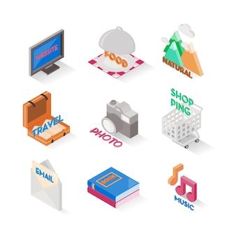 Mehrere symbol isometrische stile. satz von niedlichen symbolen. online-shopping-symbol.