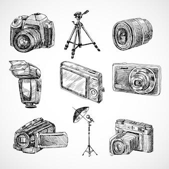 Mehrere von handgezeichneten kameras Kostenlosen Vektoren