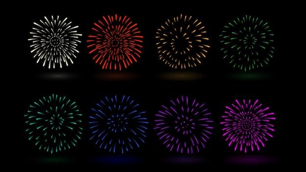 Mehrfache farbe des feuerwerksvektors in der sammlung. ideal für die gestaltung von festen und feiern.