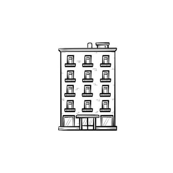 Mehrfamilienhaus handgezeichnete umriss-doodle-symbol