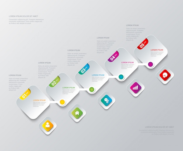 Mehrfarbenschritt-prozessschritte auf quadrat beschriftet infographics schablone
