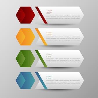 Mehrfarbenvektorsatz und textbox infographics-fahnenschablone für darstellungsplan.