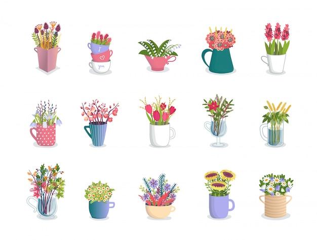 Mehrfarbige blumen in bechern, floristenkompositionen von tulpen, orchideen, lilien, gänseblümchen und blumenstrauß in blumenbechern illustrationssatz.