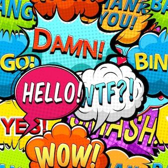 Mehrfarbige comic-sprechblasen nahtloses muster