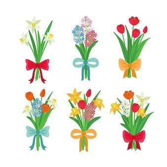 Mehrfarbige frühlingsblumensammlung