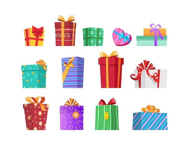 Mehrfarbige geschenkboxen mit bändern und schleifen