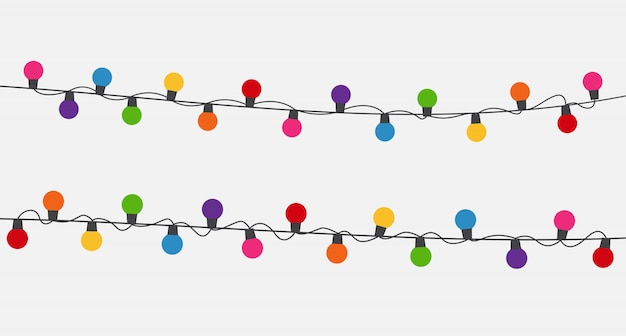 Mehrfarbige girlandenlampenbirnen festliche hintergrundvektorillustration Premium Vektoren