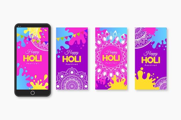 Mehrfarbige holi festival instagram geschichtenansammlung